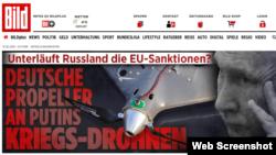 """Інтернет-сторінка газети Bild із заголовком """"Німецькі пропелери на путінських дронах війни"""". 1 лютого 2019 р."""