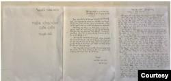 Mấy trang đầu bản thảo viết tay của cuốn tiểu thuyết Trên Sông Hồng Cuồn Cuộn của BS Nguyễn Tường Bách, viết xong Mùa Thu 1982 tại Phật Sơn, Quảng Đông. [tư liệu Nguyễn Tường Giang]
