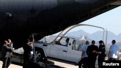 El papamóvil llegó a la base aérea Galeao el lunes 15 de julio.