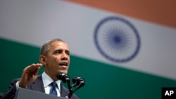 President Barack Obama speaks at the Siri Fort Auditorium in New Delhi, India, Jan. 27, 2015.