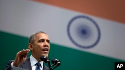 President Barack Obama speaks at the Siri Fort Auditorium in New Delhi, India, Tuesday, Jan. 27, 2015.
