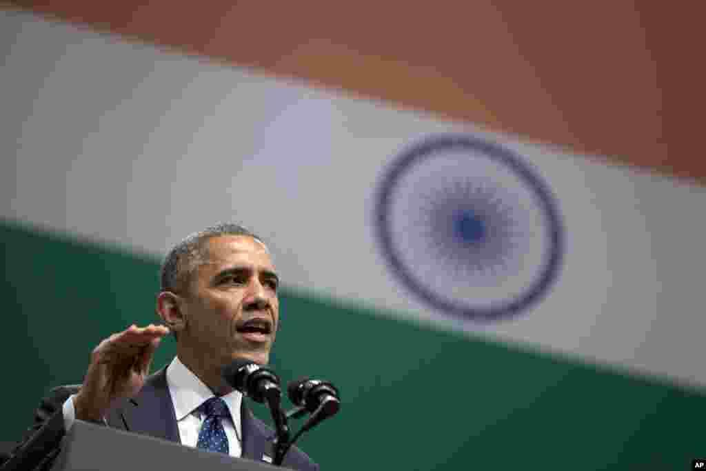 President Barack Obama speaks at the Siri Fort Auditorium in New Delhi, India, Tuesday, Jan. 27, 2015.