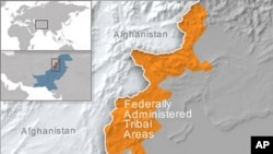 Map of the federally administrated tribal areas of Pakistan