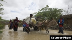 Somali refugees flee flooding in Dadaab, Kenya, an area prone to both drought and flooding from a changing climate. (UNHCR, B. Bannon)