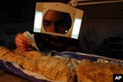 Octávio Mateus analisa os ossos do sinossauro no laboratório