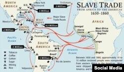 1650-1860-cı illər arasında 15 milyona yaxın insanın Qərbi Afrikadan Amerika qitəsinə qul qismində gətirildiyi güman edilir. Qulların əksəriyyəti plantasiyalarda işləmək üçün Karib dənizi adalarına, Mərkəzi və Cənubi Amerikaya nəql edilirdi.
