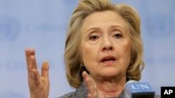 希拉里·克林顿在联合国总部对记者讲话(2015年3月10日)