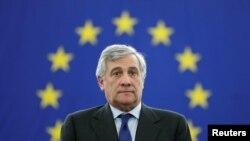 Ông Antonio Tajani vừa được bầu làm chủ tịch mới của Nghị viện châu Âu, ngày 17/01/2017.