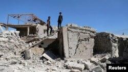 Une maison détruite à Busra al-Harir, près de Deraa, en Syrie, le 13 mars 2018.
