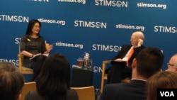 史汀生中心討論兩岸貿易關係(美國之音鍾辰芳拍攝)