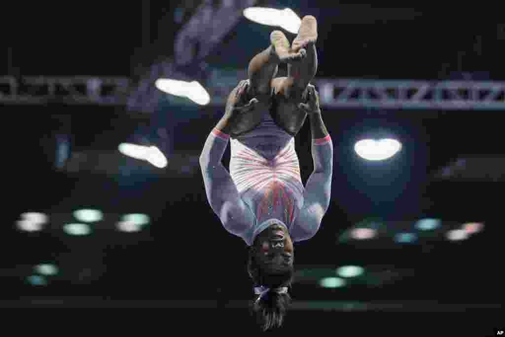 Simone Biles performs during the vault at the U.S. Classic gymnastics meet in Indianapolis, Indiana, May 22, 2021.