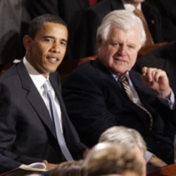 Then Senator Barack Obama and Senator Edward Kennedy watch President Bush's State of the Union address in 2007