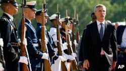 NATO Secretary General Jens Stoltenberg arrives to attend the Global Coalition to Counter IS Meeting at Joint Base Andrews, Maryland, outside of Washington, D.C., July 20, 2016.