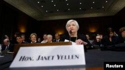 Janet Yellen en su primera audiencia en el Congreso.