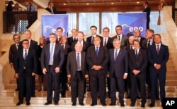 EU and Western Balkan leaders pose for a group photo during a meeting at a hotel in Sofia, Bulgaria, May 16, 2018.
