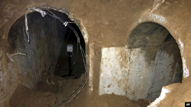 This undated photo released by the Israel Defense Forces, March 21, 2014, claims to show a tunnel dug from the Gaza Strip, stretching hundreds of meters inside Israel.