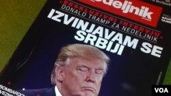 Naslovna strana sa najavom spornog intervjua Donalda Trampa beogradskom magazinu Nedeljnik (Foto: Glas Amerike)