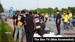 Hiện trường sau khi cảnh sát bắn chết các thành viên nhóm tội phạm người Việt.