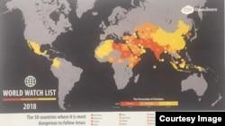 """據""""敞開的門""""- 2018年有50個國家被視為對基督徒有危險。"""