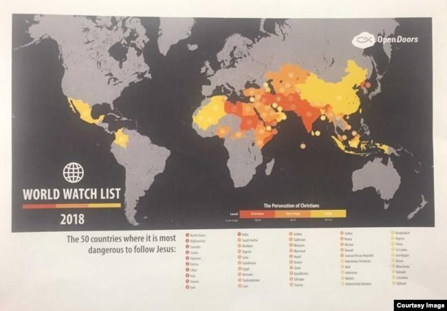 """美國基督教迫害監察組織""""敞開的門""""公佈""""2018全球監察名單""""。 朝鮮排名第一,屬於""""極端迫害""""國家。 中國的排名從去年的39名降至43名,仍屬""""高度迫害""""國家。 (Open Doors USA)"""