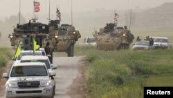 اقدامات مشترک نیروهای کرد و نظامیان آمریکا در سوریه برای محافظت از غیرنظامیان