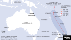 Map showing the path of Cyclone Pam over Vanuatu, near Australia