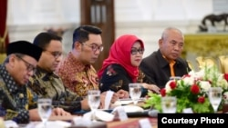 Beberapa kepala daerah yang dipanggil Presiden Jokowi untuk membahas dan mengkoordinir upaya penanganan banjir. (Courtesy: Setpres RI)