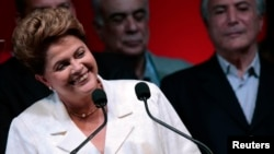 Dilma Rusef na konferenciji za novinare po objavljivanju rezultata izbora, 27. oktobar 2014.