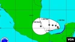 Badai Tropis Nate di Teluk Mexico (9/9).
