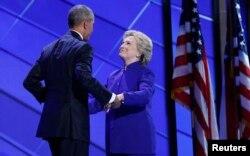 Barak Obama və Hillari Klinton Demokratların qurultayında