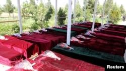 Pakèt sèkèy ki gen kadav plizyè sòlda Lame Nasyonal Afganistan an (ANA) 22 avril 2017.