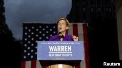 បេក្ខជនប្រធានាធិបតីគណបក្សប្រជាធិបតេយ្យ Elizabeth Warren ថ្លែងនៅសួន Washington Square Park ក្នុងទីក្រុងញុវយ៉កកាលពីថ្ងៃទី១៦ ខែកញ្ញា ឆ្នាំ២០១៩។