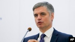 Ukrainian Foreign Minister Vadym Prystaiko speaks during a joint new conference with Latvian Foreign Minister Edgars Rinkevics in Kyiv, Ukraine, Oct. 7, 2019.
