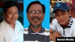 Từ trái sang, các blogger Lưu Văn Vịnh, Hồ Văn Hải và Nguyễn Văn Đức Độ bị chính quyền Việt Nam bắt giữ vào cuối năm 2016.