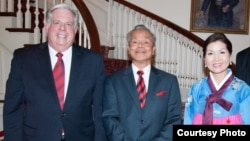 From left to right: Maryland governor Larry Hogan, Tun Sovan, and Yumi Hogan, wife of Larry Hogan. This photo was taken in 2015 at the Maryland Residence. (Photo courtesy of Tun Sovan)