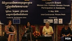 Women speakers on the panel discuss ways to increase women representatives at the decision-making level in the political arena, at Phnom Penh's Intercontinental Hotel, on Wednesday, May 11, 2016. (Aun Chhengpor/VOA Khmer)