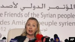 Secretary of State Hillary Clinton speaks at a news conference following the Friends of Syria Conference in Tunis, February 24, 2012.