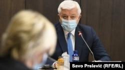 Premijer Crne Gore Duško Marković na sednici vlade 24. april 2020. (Foto: RFE/RL/Savo Prelević)