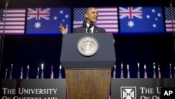 Presiden AS Barack Obama di Brisbane, Australia.