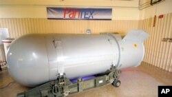 这是准备销毁的美国最后一枚重量达一万磅的巨型炸弹B53。 美国国家核安全局提供