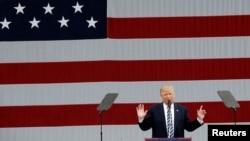 Republican presidential nominee Donald Trump speaks at a campaign rally in Greensboro, North Carolina, Oct. 14, 2016.