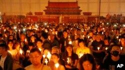 ေဟာင္ေကာင္ Victoria ပန္းၿခံတြင္ျပဳလုပ္သည့္ Tienanmen ႏွစ္ပတ္လည္ဆုေတာင္းပြဲ မွတ္တမ္းဓာတ္ပံု