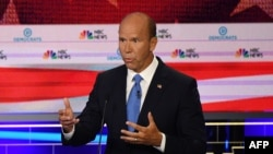 John Delaney speaks during the first Democratic primary debate of the 2020 presidential campaign season hosted by NBC News at the Adrienne Arsht Center for the Performing Arts in Miami, Florida, June 26, 2019.
