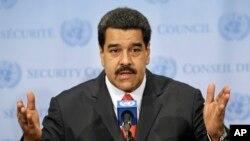 FILE - Venezuelan President Nicolas Maduro speaks to reporters at United Nations headquarters in New York, July 28, 2015.