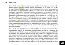 Báo cáo Hội đồng Nhân quyền LHQ về Việt Nam 2020.