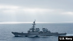 美军希金斯号驱逐舰2017年8月在太平洋上执行任务(美国海军)