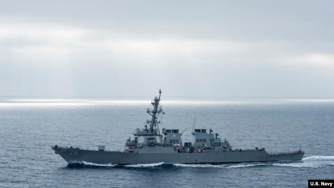 美軍希金斯號驅逐艦2017年8月在太平洋上執行任務(美國海軍)