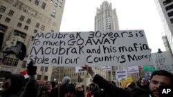 지난 1월 29일 미국 시카고 이집트 대사관앞에서 호스니 무바라크 대통령의 퇴진을 요구하며 동조 시위를 벌이는 시민들(자료사진)