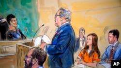 Адвокат Роберт Дрисколл отвечает на вопросы судьи по делу Марии Бутиной. Судебная зарисовка из архива.