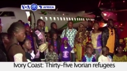 VOA60 Africa-Thirty-five Ivorian refugees arrive at the Abidjan airport